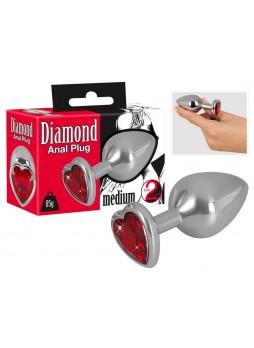 Diamond - 85g-os alumínium anál dildó (ezüst-piros)