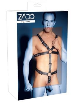 ZADO - pántos, valódi bőr férfi body (fekete)