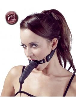 Fetish - szájpecek dildóval (fekete)